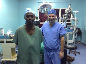 Dr. Haglund and Dr. Muhumuza in new Neurosurgical Theater (a.k.a. Operating Room)
